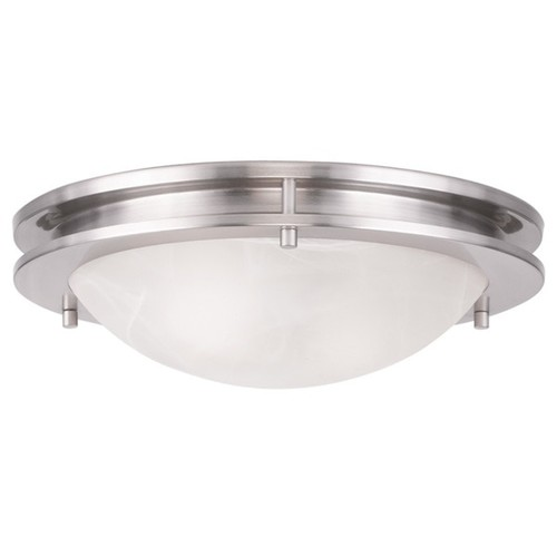 Ariel White Glass anf Brushed Nickel-finish Steel Flush Ceiling Mount