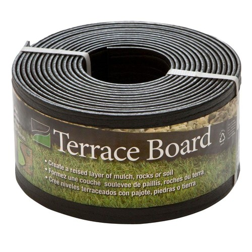 Master Mark Terrace Board 4 in. x 20 ft. Black Plastic Landscape Lawn Edging with Stakes