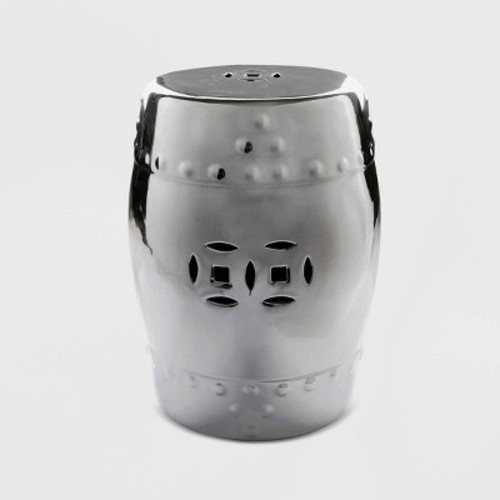 Madras Silver Chrome Ceramic Garden Stool - Abbyson Living