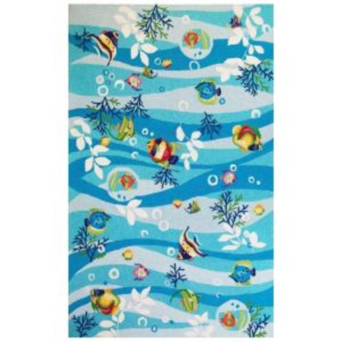 Kas Rugs Aqua Fish Blue 3 ft. 3 in. x 5 ft. 3 in. Area Rug