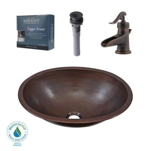 SINKOLOGY Pfister All-In-One Schrodinger Bathroom Sink Design Kit in Aged Copper with Centerset Rustic Bronze Faucet