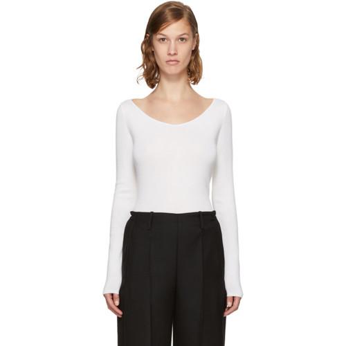 LEMAIRE White V-Neck Sweater