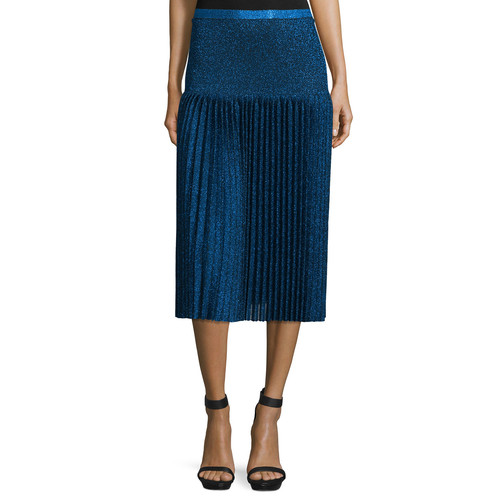 CHRISTOPHER KANE Pleated Metallic Knit Skirt, Navy