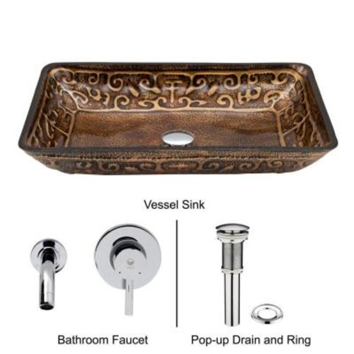 VIGO Rectangular Glass Vessel Sink in Golden Greek with Wall-Mount Faucet Set in Chrome