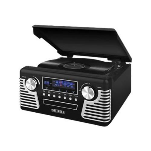 Victrola V50-200 Black Retro Record Player Stereo with Bluetooth and USB Digital Encoding, Black