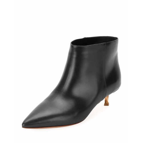 VALENTINO Leather Point-Toe 40Mm Bootie, Black