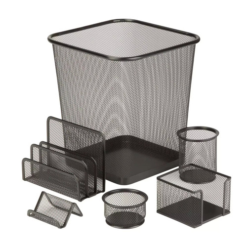 Honey-Can-Do OFC-03491 6-Piece Mesh Desk Set, Black