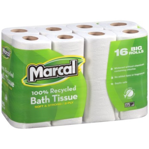 Marcal #16466 100% Recycled, Green Seal Certified Toilet Paper, 2-Ply, White, 168 sheets per roll