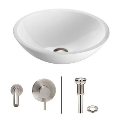 VIGO Flat Edged Stone Glass Vessel Sink in White Phoenix with Wall-Mount Faucet Set in Brushed Nickel