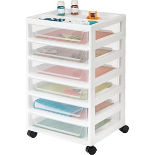 IRIS 6-Drawer Scrapbook Cart with Organizer Top, White, 2 Pack (150692)