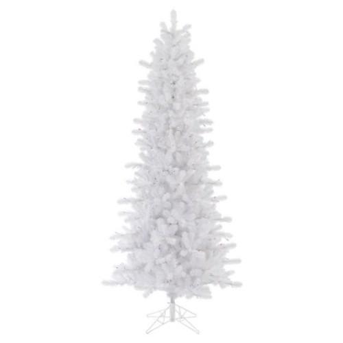 Vickerman Unlit 6.5' Crystal White Pine Artificial Christmas Tree, Slim Artificial Christmas Tree
