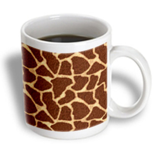 3dRose - Janna Salak Designs Prints and Patterns - Giraffe Print Brown - 11 oz mug