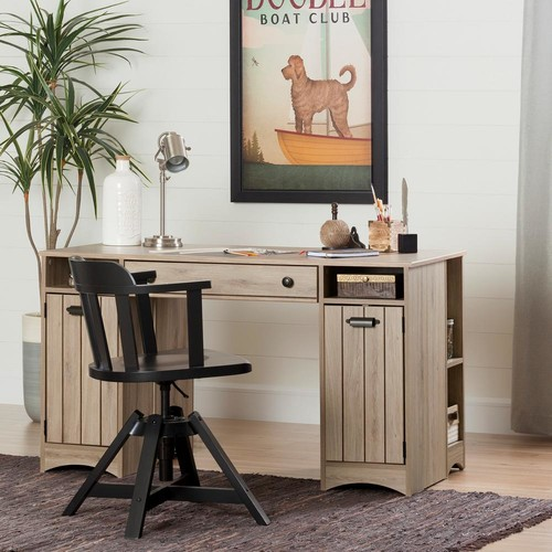 South Shore Artwork Straight desk with drawers Desk in Rustic Oak