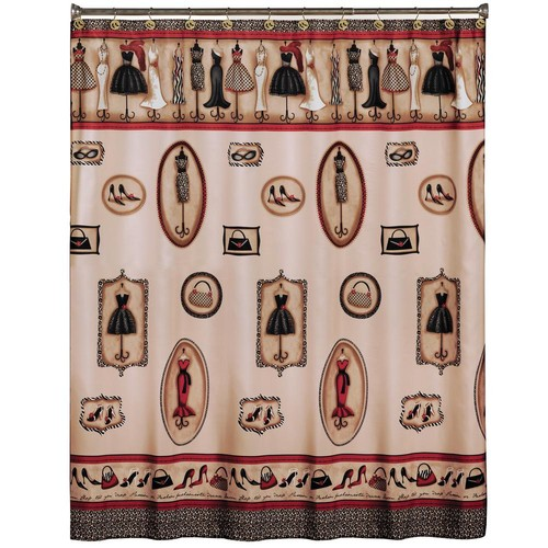Saturday Knight 72 in. Red Fashion Passion Fabric Shower Curtain