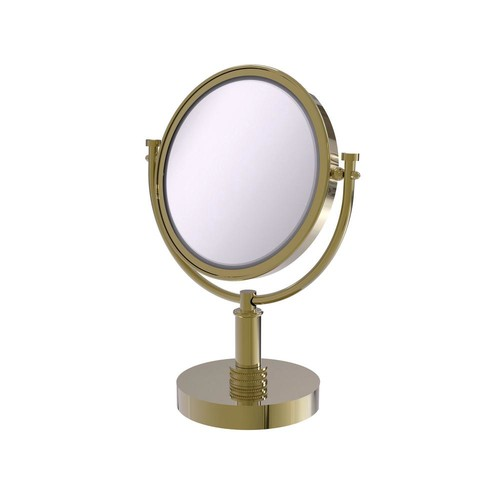 Allied Brass 8 in. x 15 in. Vanity Top Make-Up Mirror 4x Magnification in Unlacquered Brass