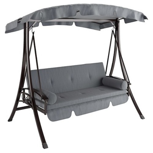 Nantucket Daybed Patio Swing In Charcoal And Gray - Corliving