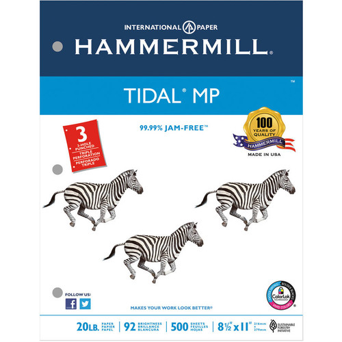 Hammermill 162032 Tidal MP Copy 3-Hole Punched Paper, 92 Brightness, 20lb, Letter, White (Case of 5000 Sheets)
