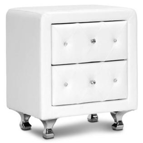 Baxton Studio Upholstered Nightstand in White
