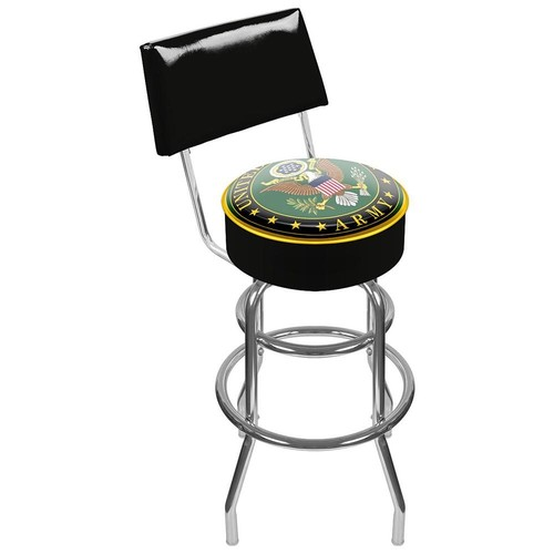 Trademark Global US Army Symbol Padded Swivel Bar Stool with Back