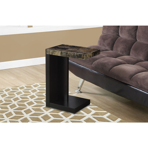 Monarch Coffee, Console, Sofa & End Tables Accent Table Cappuccino Marble-Look Top