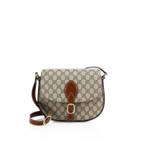GUCCI Small Leather & Canvas Logo Print Saddle Bag