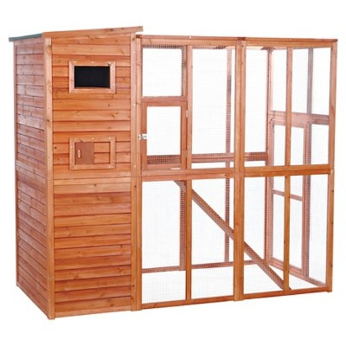 Trixie Pet Wooden Outdoor Cat Run Crate - Brown