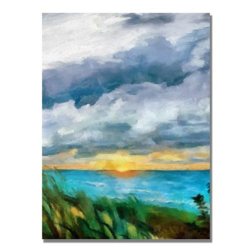 Trademark Fine Art Michelle Calkins 'Sunset over the Lake II' Canvas Art