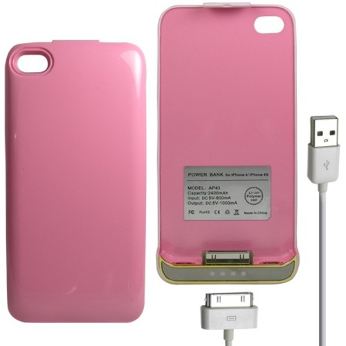 Power Bank iPhone 4/4S Battery Case 2400mAh - Pink