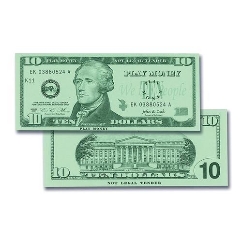 LEARNING ADVANTAGE Play Sets $10 Bills Set 100 Bills