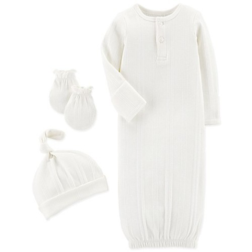 carter's Preemie 3-Piece Striped Gown, Hat, and Mitten Set in Ivory