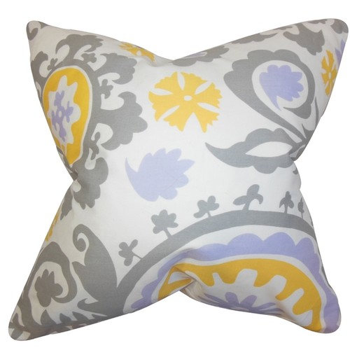 Janek Geometric Gray Feather Filled 18-inch Throw Pillow