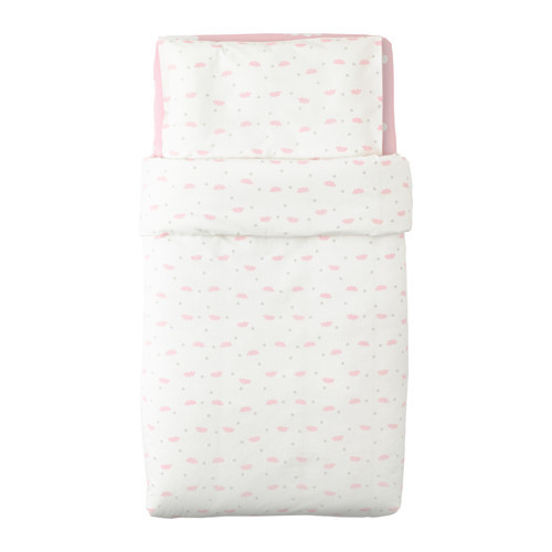 HIMMELSK 4-piece bedlinen set for crib, pink