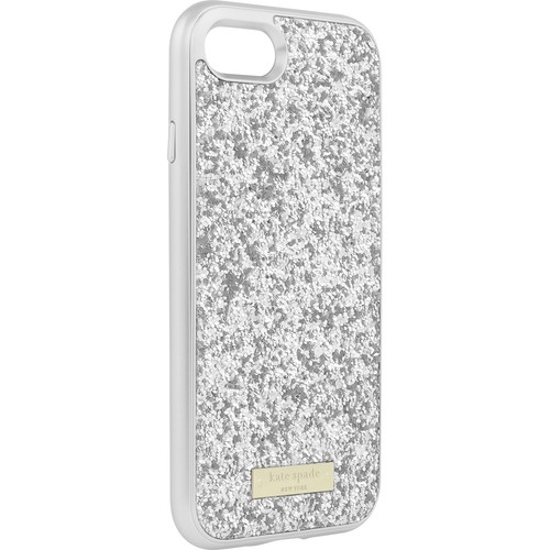 kate spade new york - Exposed Glitter Case with Metallic Bumper for Apple iPhone 7 - Silver/Exposed glitter silver