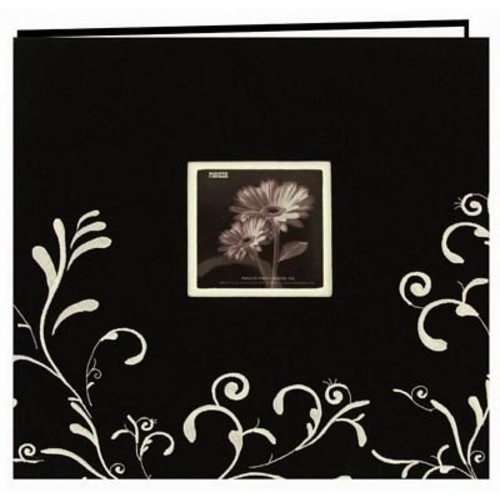 Pioneer 12 Inch by 12 Inch Postbound Scroll Embroidery Fabric Frame Cover Memory Book, Black with White