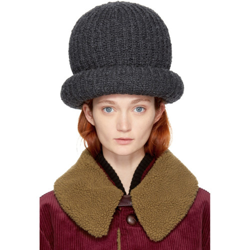 MARC JACOBS Grey Oversized Knit Hat