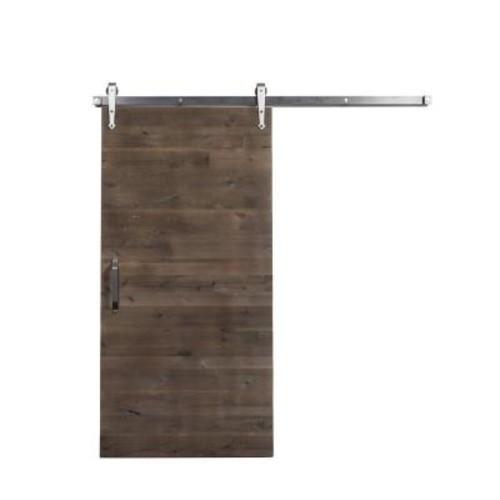 Rustica Hardware 42 in. x 84 in. Reclaimed Home Depot Gray Wood Barn Door with Arrow Sliding Door Hardware Kit