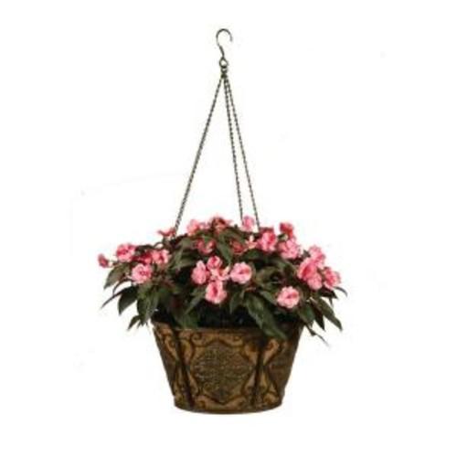 Deer Park 16 in. Planter Metal Hanging Basket Diamond with Coco Liner