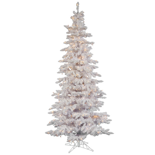 Vickerman 10' Flocked White Slim Tree with 650 Dura-Lit Clear Lights