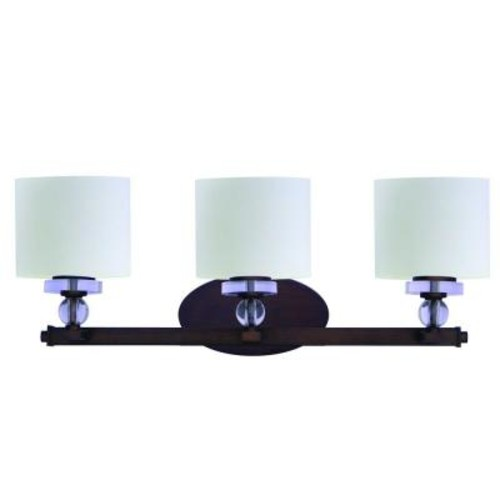 Yosemite Home Decor Mitchell Peak 3-Light Oil Rubbed Bronze Bathroom Vanity Light with Dove White Glass Shade