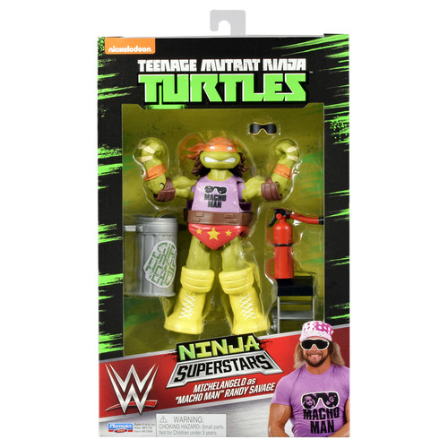 WWE Michelangelo as Macho Man Randy Savage - Teenage Mutant Ninja Turtles 2 TMNT Ninja Superstars Toy Wrestling Action Figure