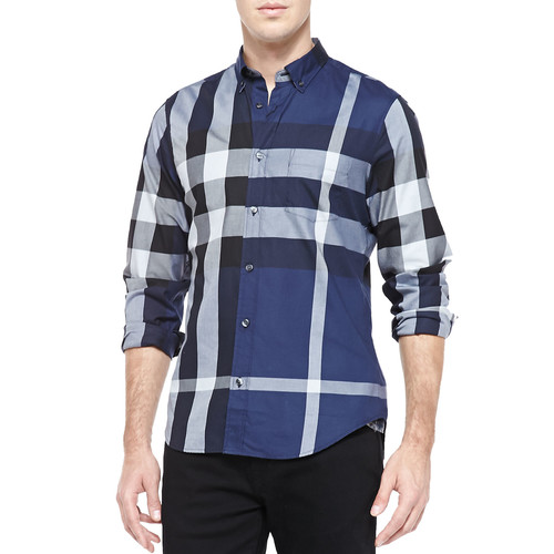 BURBERRY BRIT Fred Exploded Check Button-Down Shirt, Ink