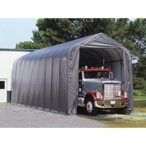 ShelterLogic 14 ft. x 20 ft. x 12 ft. Green Steel and Polyethylene Garage without Floor