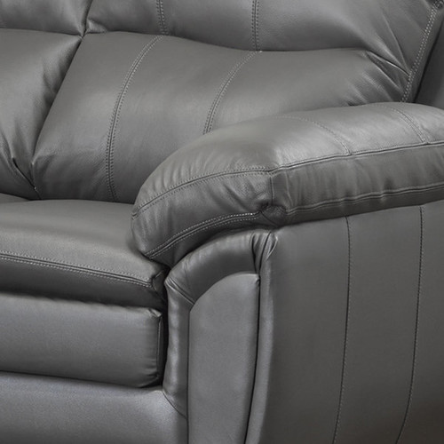 Marcus Premium Grey Top Grain Leather Sofa and Two Chairs