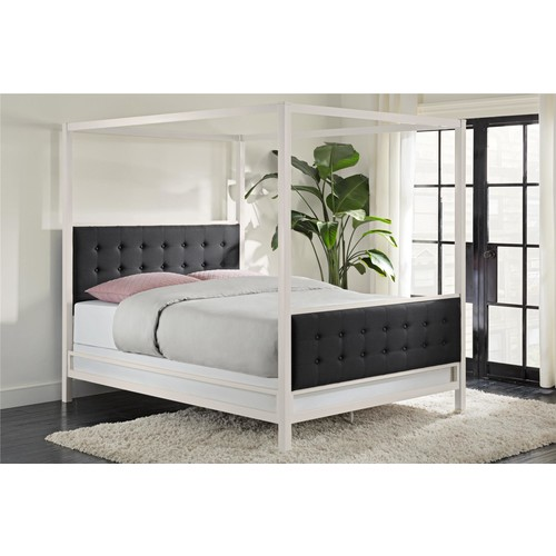 Dorel Soho Modern Queen White Metal with Black Linen Canopy Bed