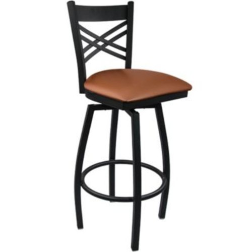 Advantage Cross Back Metal Swivel Bar Stool - Mocha Padded (SBXB-BFMV-20)