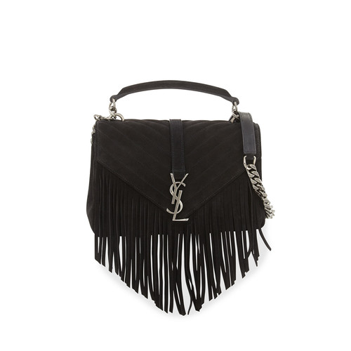 SAINT LAURENT Monogram Fringe College Suede Shoulder Bag, Black
