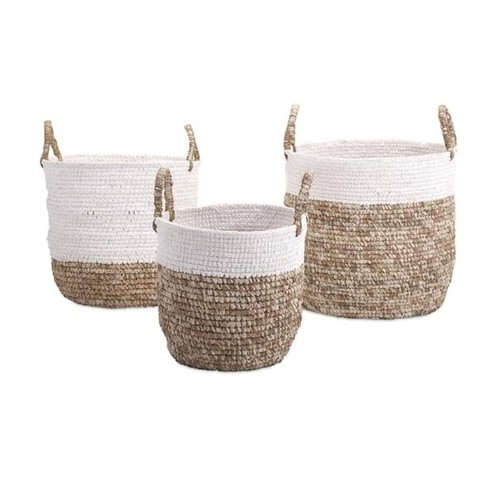 Set of 3 Nautical White Shoelace and Natural Brown Raffia Woven Baskets with Handles