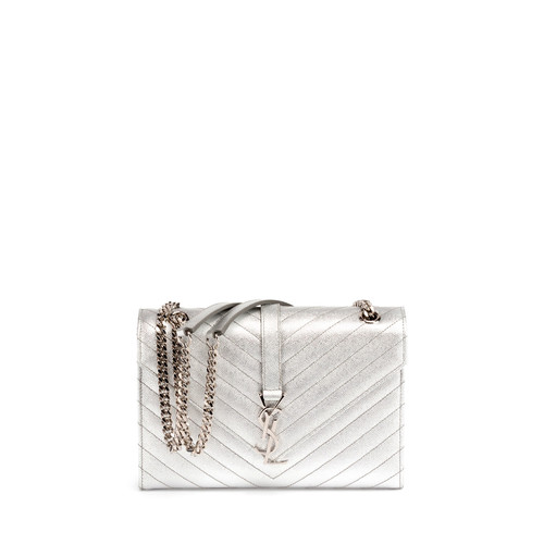 SAINT LAURENT Monogram Medium Matelassé Chain Shoulder Bag, Silver