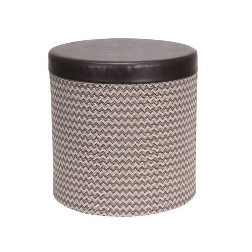 Household Essentials Chevron Collapsible Round Storage Ottoman