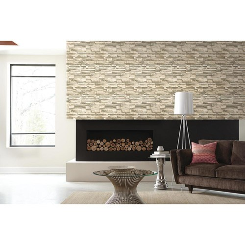 RoomMates 28.18 sq. ft. Natural Flat Stone Peel and Stick Wall Decor